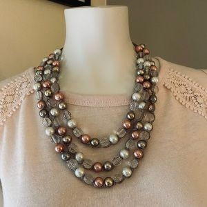 LOFT Tiered Faux Pearl Ribbon Necklace
